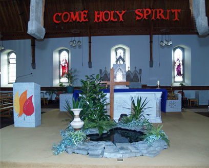 The Lenten Altar in Ashbourne Church.